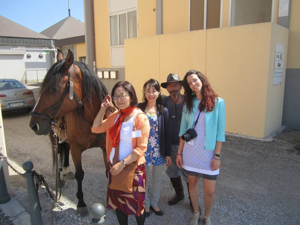 @Itakian Koi Show, May 2014 (from left: carpenter's hose, Haruko, Miwako, carpenter, Francesca)
