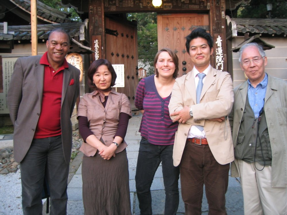 With Michael Carr and the director of BBC after filming at Shorenin in Kyoto (Chelsea 2008)