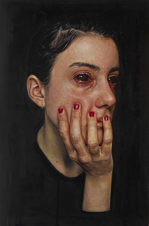 Sold Girl With Black Eyes 46x30cm Oil On Polyester Jpg