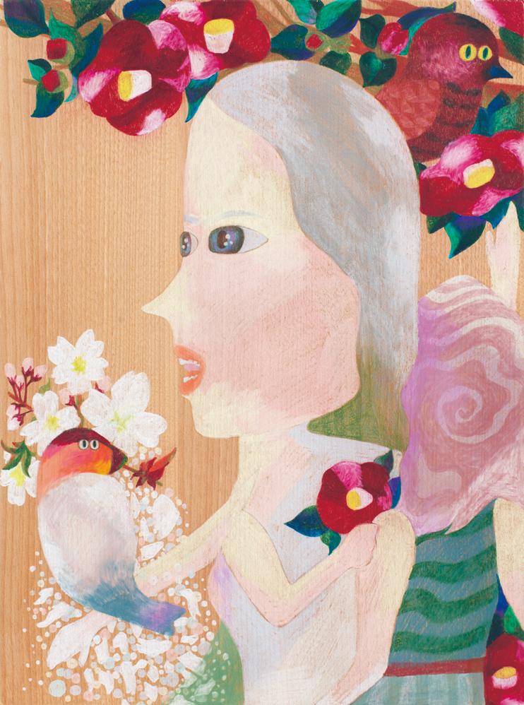 Tsubaki Niigata,   2015  30 x 40cm  Colour pencils on wood