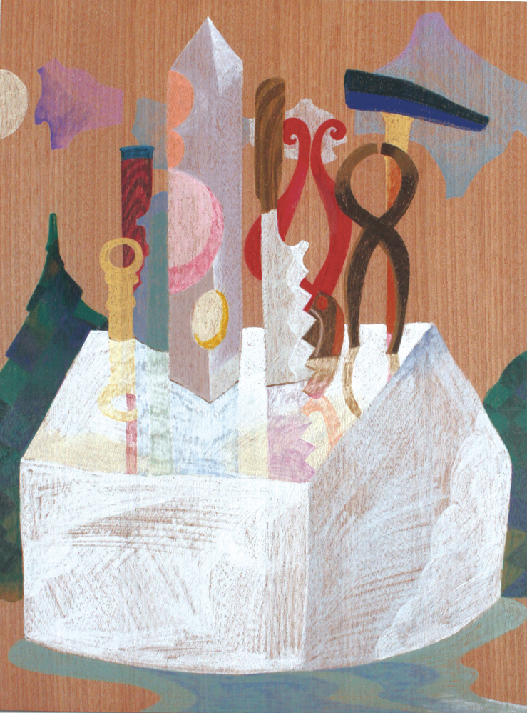 White Tools,   2014  40cm x 30cm  Colour pencils on wood