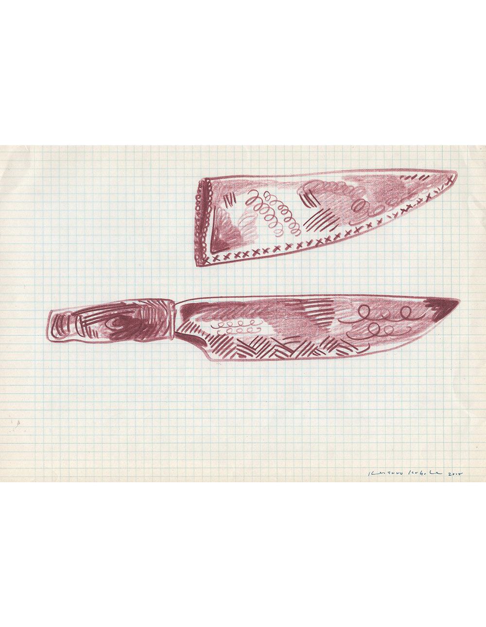 Drawing - Knives,   2018  29.5cm x 21cm  Colour pencils on paper