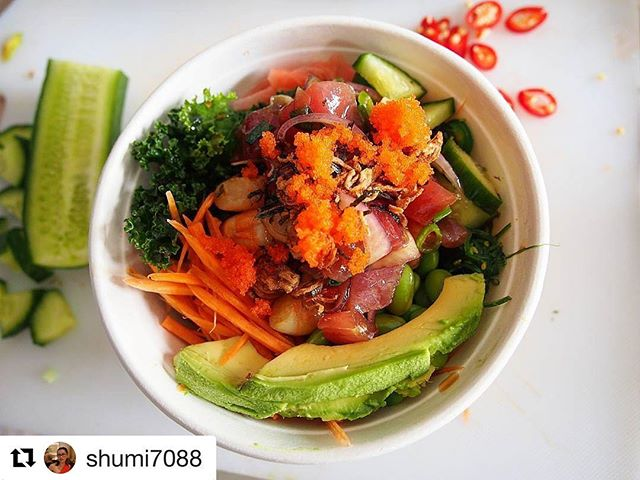 Need a fresh taste? Get on board the Poké bowl ride! Great accompany for the beautiful spring weather 🌻 . . #repost @shumi7088
