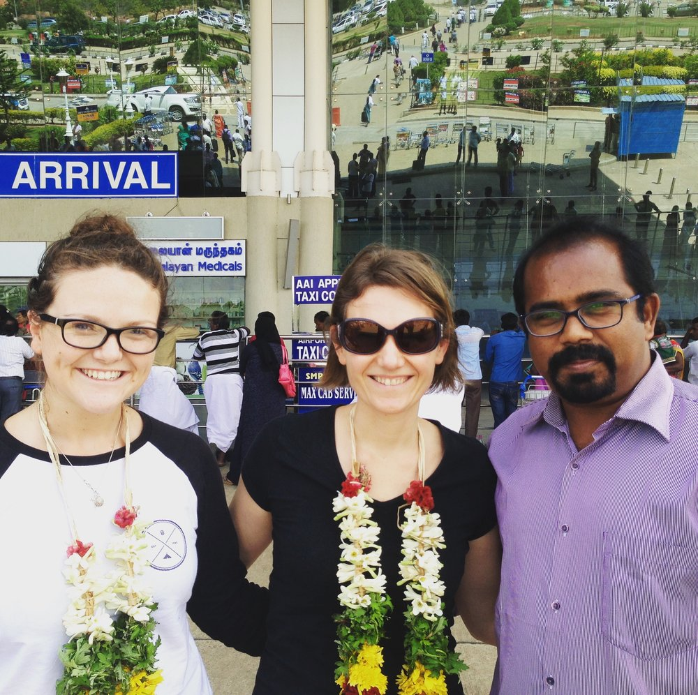 Alice, Sherry and Ruban at Madurai airport