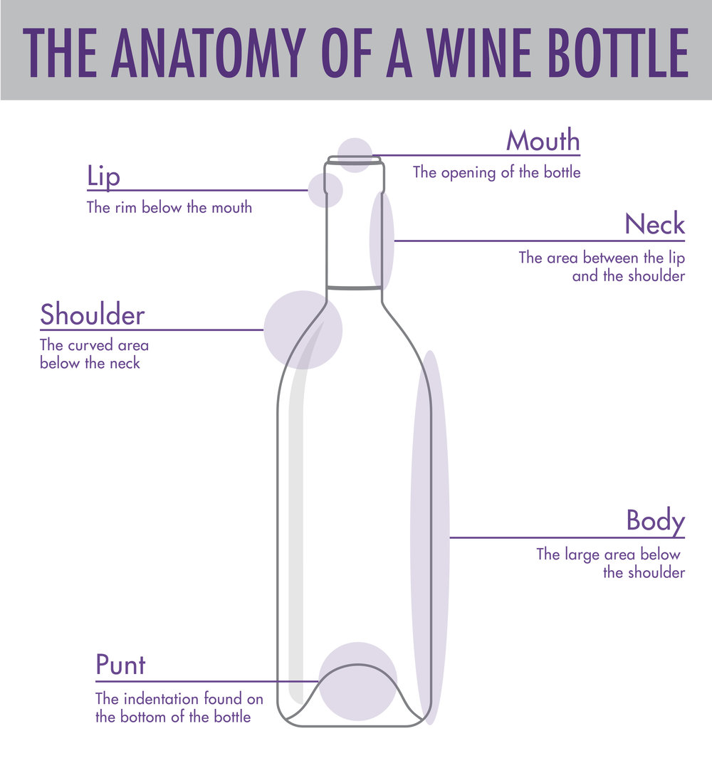 Find out more about wine bottle anatomy in our post, Wine Bottle Shapes and Sizes.