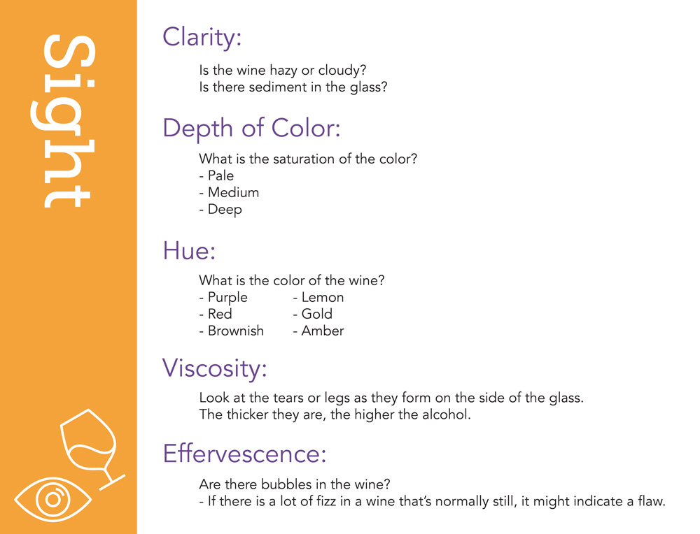"""Sight Here are some elements to look for when evaluating the visual aspects of a wine. Clarity: is the wine hazy or cloudy? Is there sediment in the glass? (The answer to this question will almost always be """"no."""" Most wine is clear.) Depth of Color: what is the saturation of the color? Hue: what is the color of the wine? Is it purple, red, brownish, etc. Viscosity: look at the tears or legs as they form on the side of the glass. The thicker they are, the higher the alcohol. Effervescence: are there bubbles in the wine? Obviously, sparkling wine should have bubbles and many still wines can have a very slight effervescence, but if there is a lot of fizz in a wine that's normally still, it might indicate a flaw."""