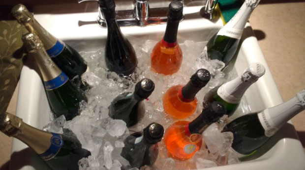 Some of my wine chilling in the sink at last year's party