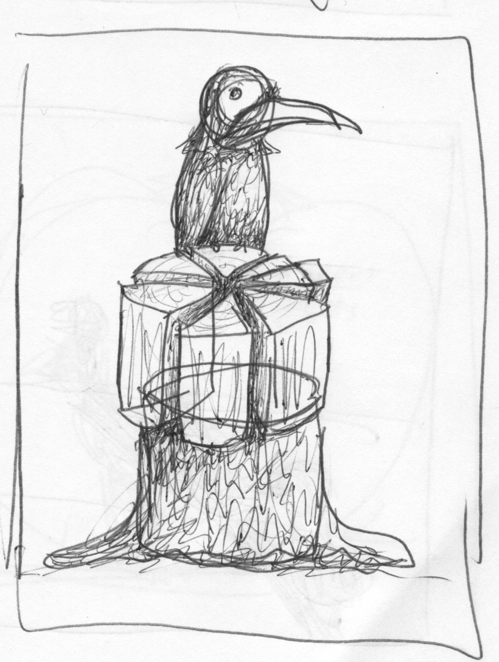 A crow sits on pieces of wood arranged like a sliced cake.