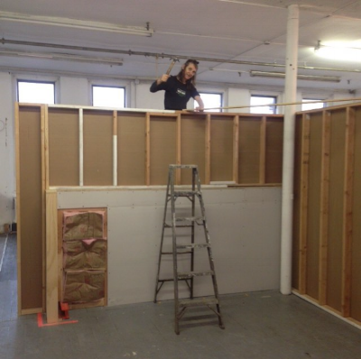 Building the walls to create the space for the shooting room