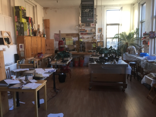The studio's back area with animator's drawing table and set-building workshop