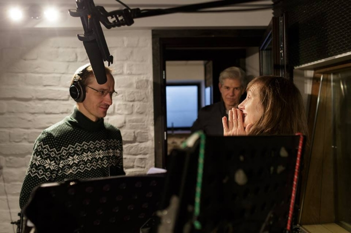 Signe and Sturgis in the studio with voice actor Kaspars Znotins