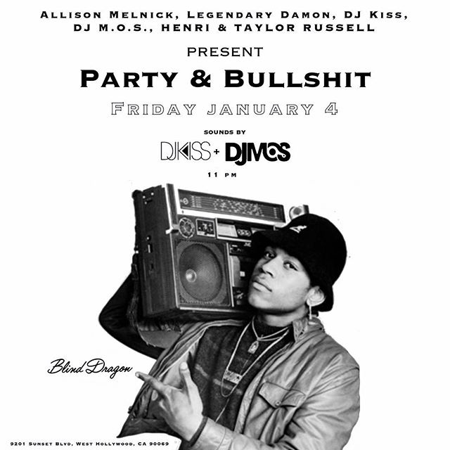 Tonight we're back with another edition of Party & Bullshit at @blinddragonla. We started building this night for all my music heads that want to come together and hear records you might not get to hear at other spots. We're curating a vibe and I hope you all come out and get a chance to experience it. Door open at 11pm. See you tonight!!