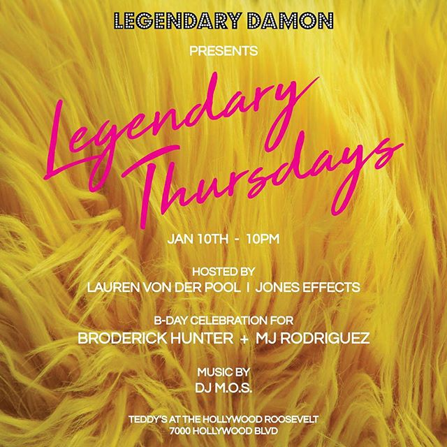 Tonight deejaying Legendary Thursday's for my homie @legendarydamon at Teddy's at the @thehollywoodroosevelt. Pull up!