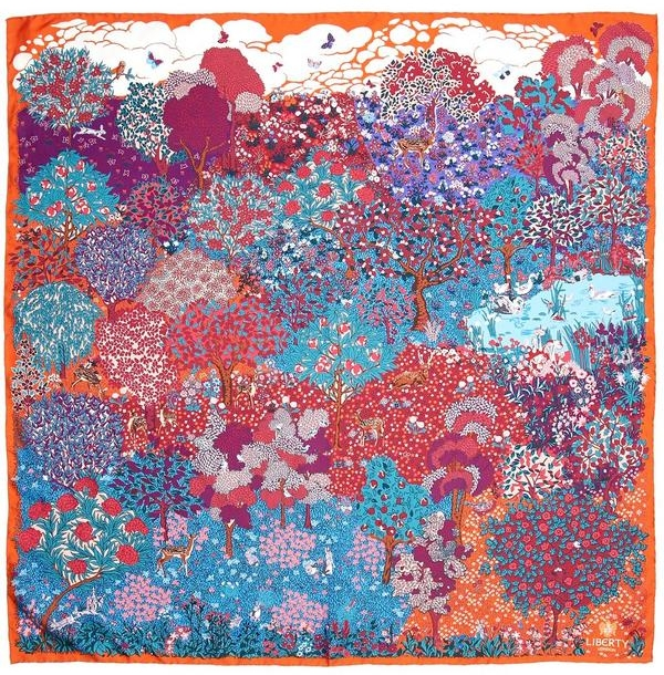 When I thought of floral, one of the first things that came to mind was this amazing silk scarf from Liberty of London.  I adore the warm and cool colour combinations and how this one piece could single handedly illuminate a whole outfit.