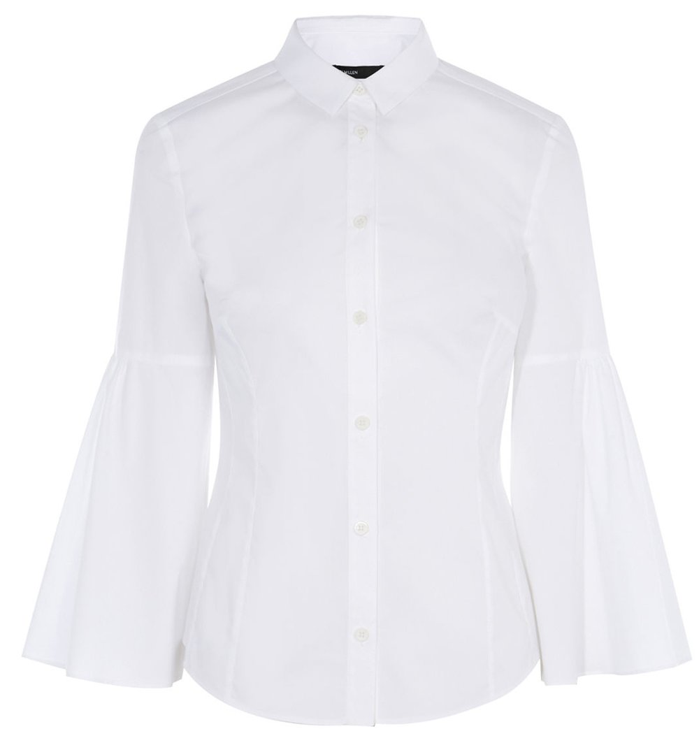 Karen Millen has introduced a capsule of 'reinvented' white shirts for this season.  There's lots of different styles but I loved the on-tend voluminous sleeve against the classic body.