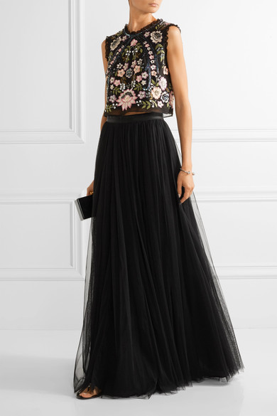 Go for the full-on look with Needle and Thread's maxi tulle skirt.  Shown here with the coordinating top,  it's beautiful occasion wear look. Available in several shades on Net-a-Porter.