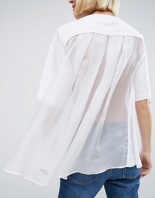 For those looking for a simple nod to the trend, look no further than ASOS's tulle cape back top.  Looks great with jeans and slides for summer.  Just ensure you're wearing your prettiest underwear!