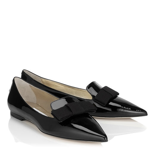 POINTS WITH A BOW  Gala Patent by Jimmy Choo £395.00  I can personally recommend the Gala flats from Jimmy Choo as great flat loafer option.  I  have them in both gold and maroon and I' sure these black ones will need to add to the collection soon.  They do stretch due to the softness of the leather so I'd recommend sizing down a half or a full size in these (depending on your foot width) but they are very comfortable and incredibly long lasting.