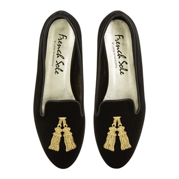 LOVE A TASSEL!  Hefner Black Velvet Tassel by French Sole £190.00  Another favourite 'flats brand' is French Sole.  They are known for their ballerina style pumps but I've become a fan of their Hefner loafers.  They do take a little bit of breaking in but once they have they are really easy to wear pus the tassel adds a sense of occasion and style.
