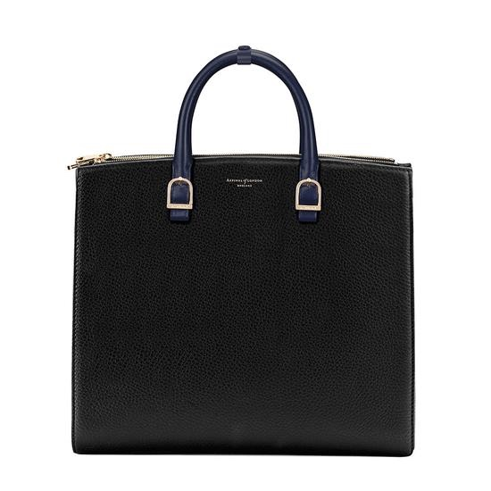 BLACK MEETS BLUE  Editor's Tote in Black Pebble & Blue Moon by Aspinal £850.00  I'm always keen to include British brands in my mix and Aspinal is a forever-great option.  This bag is so chic and the contrast of the blue against the black gives it great personality.  Quintessentially English and lady-like yet modern (it has an internal pocket with a cable path) this is a great option for a busy working woman.
