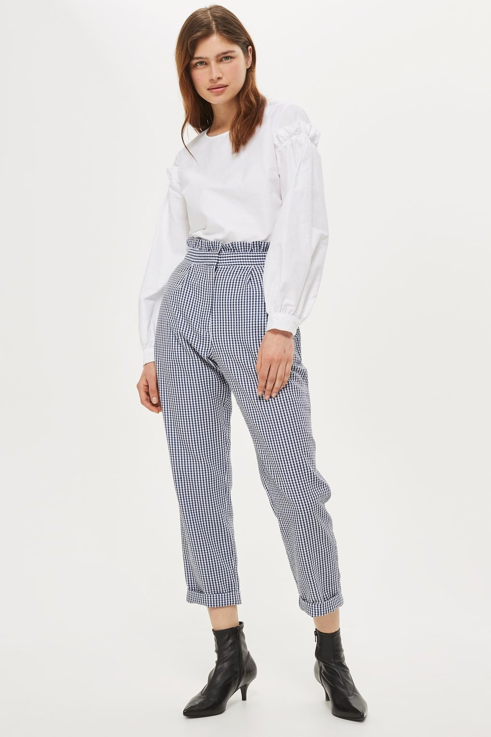 GINGHAM  Ruffle Waist Gingham Trousers from Topshop £36.00