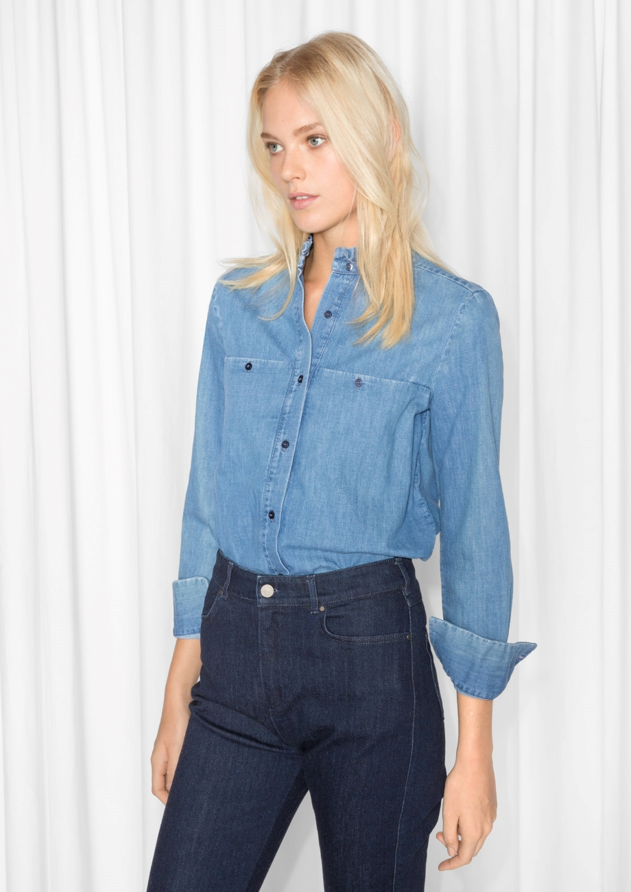 ESSENTIAL CHAMBRAY  Ruffle Collar Chambray Shirt from & Other Stories £55.00