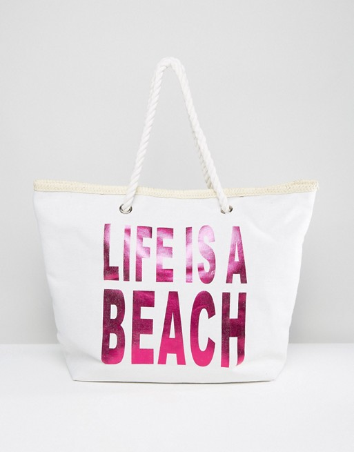 STATEMENT FOR THE BEACH  South Beach 'Life is a Beach' Bag from ASOS £15.00