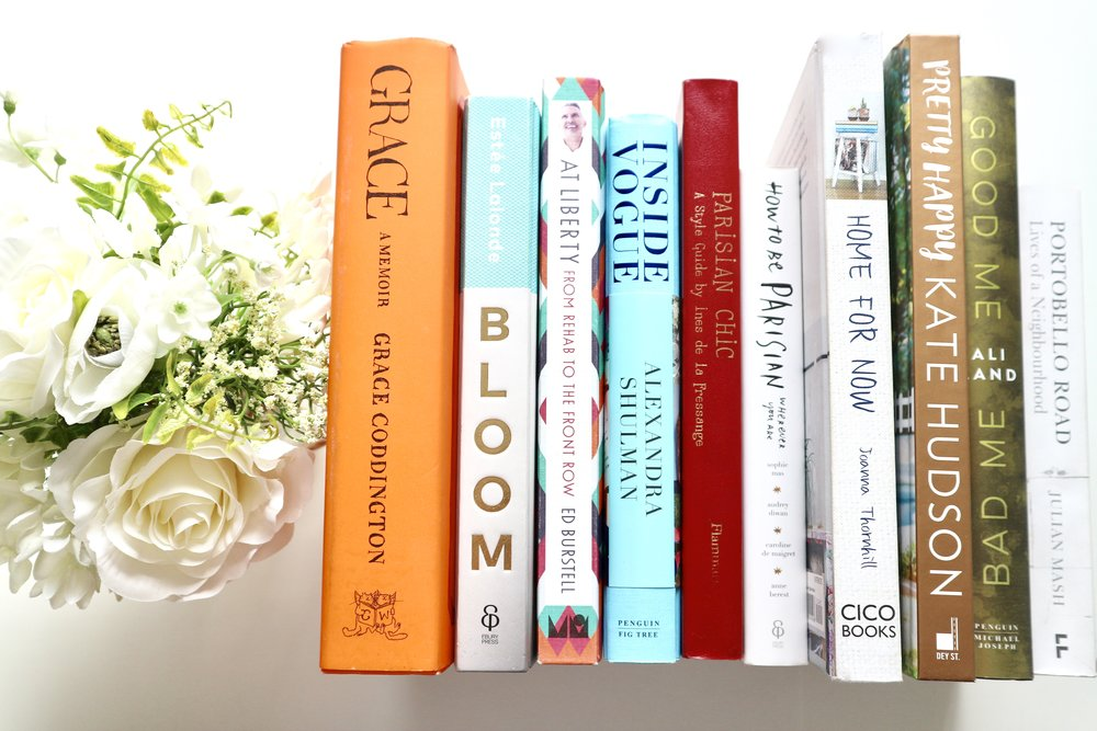 L-R: Grace: A Memoir by Grace Coddington, Bloom by Estee Lalonde, Inside Vogue by Alexandra Schulman, Parisian Chic by Ines de la Fressange, How to be Parisian by Caroline de Maigret and Anne Berest, Home for Now by Joanna Thornhill, Pretty Happy by Kate Hudson, Good Me Bad Me by Ali Land, Portobello Road: Lives of a Neighbourhood by Julian Marsh.