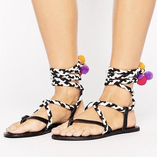 ASOS Familiar Rop Pom Pom Sandals £25.00