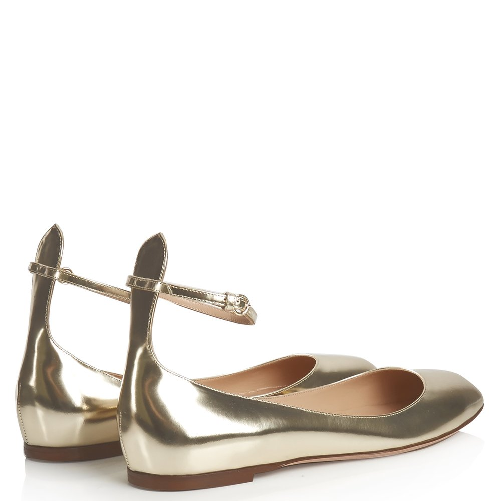 Tan-Go Flats in Gold by Valentino @ Matches £480.00