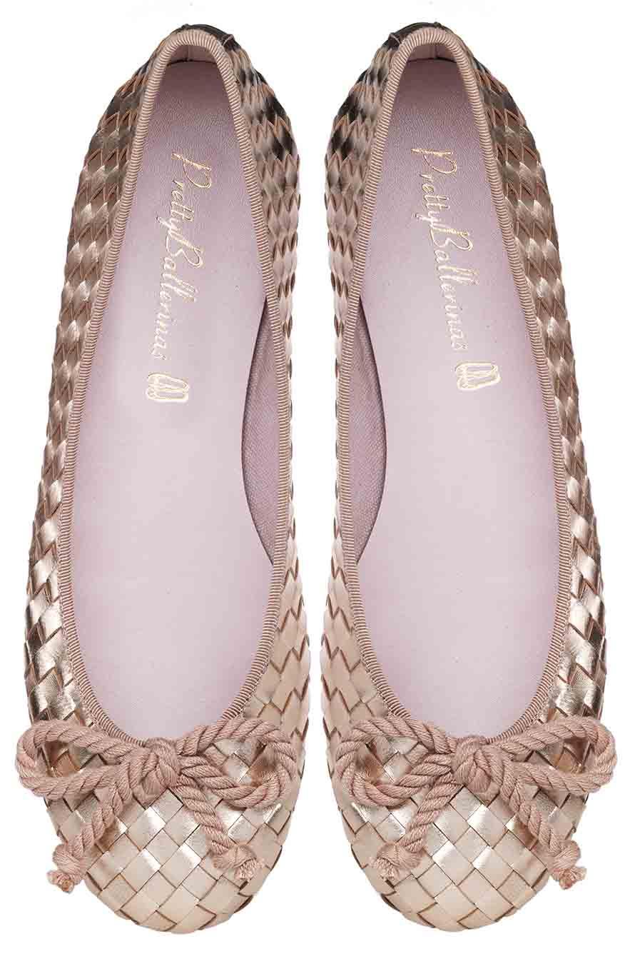 Rosario Rose Gold Woven Ballet Pumps by Pretty Ballerinas £169.00