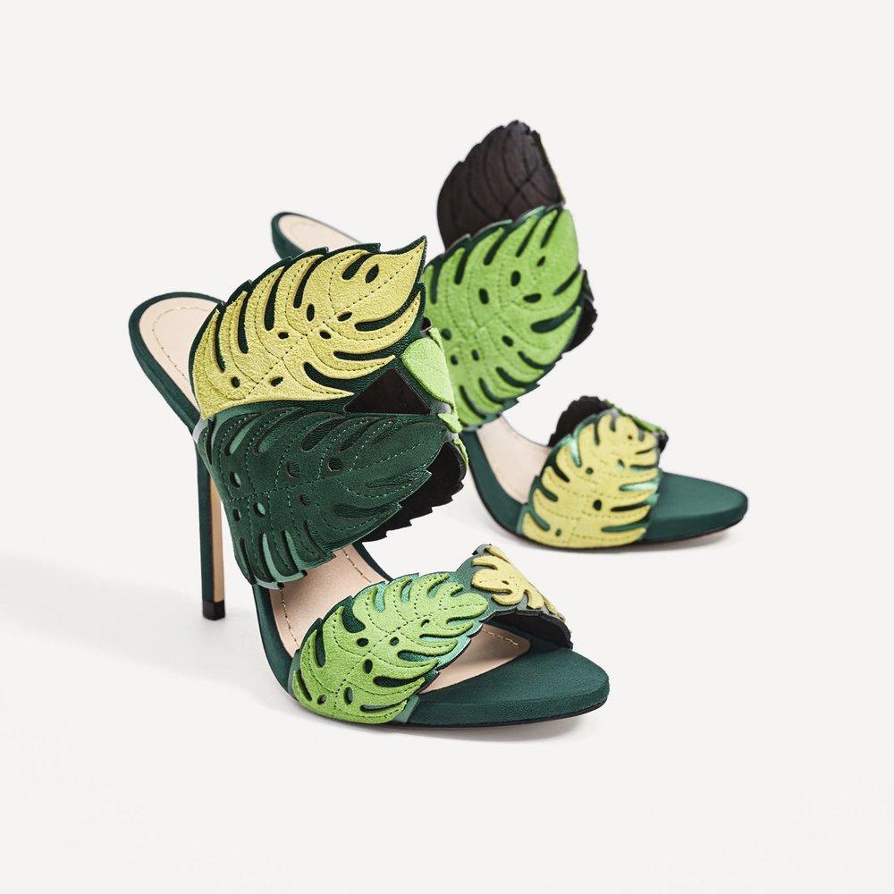 Wrap Around Leather Leaf Sandals by Zara £79.99