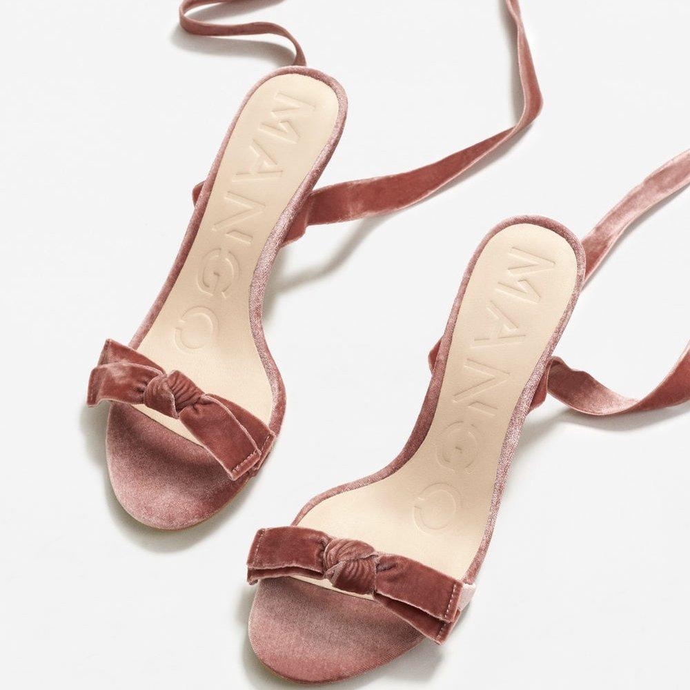 Lace-up Velvet Sandals by Mango £35.99