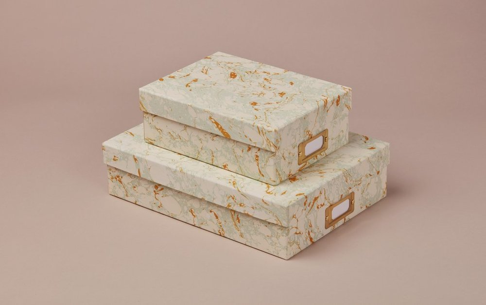 Handmade Marbled Storage Boxes from £20.00 at Choosing Keeping