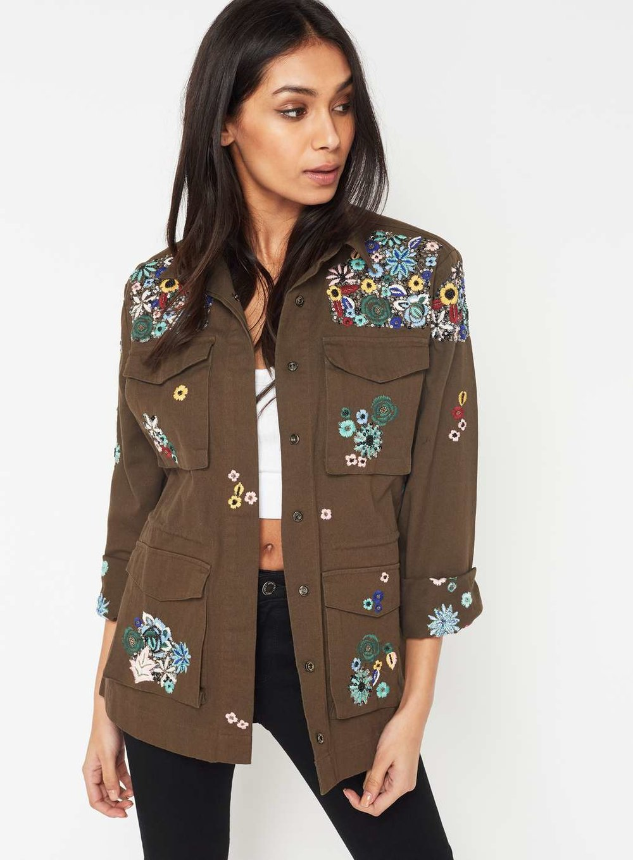 Khaki Embroidered Jacket £95.00 at Miss Selfridge