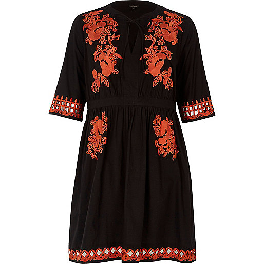 Black & Red Embroidered Dress £60.00 at River Island