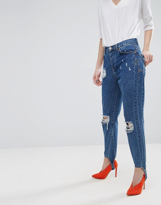 Deconstructed Straight Leg Jeans with Stirrup £38.00 at ASOS