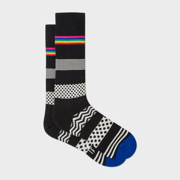 Men's Black 'Mixed Bag' Block Stripe Socks £17.00 at Paul Smith