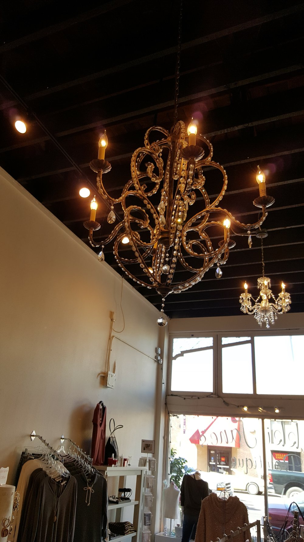 I fell in love with this Antique chandelier in Amy's store.  You can't miss it!  It's Gorgeous