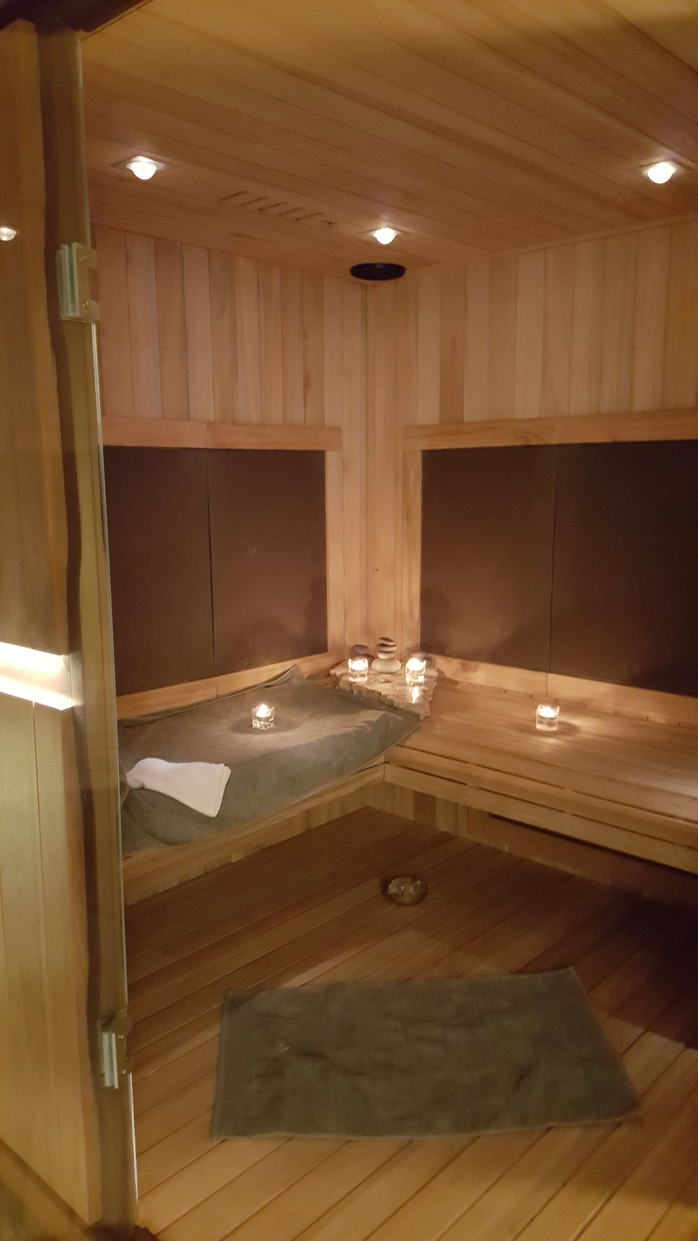 The Beautiful Sweat Lounge aka Infrared Sauna, which s made entirely of Eucalyptus wood.i