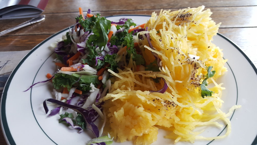 Kale salad and spaghetti squash