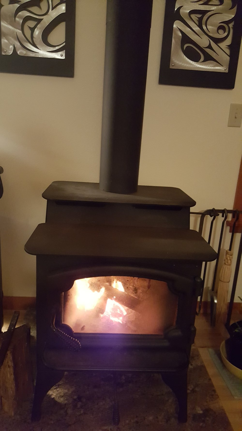 Heat stove to keep warm