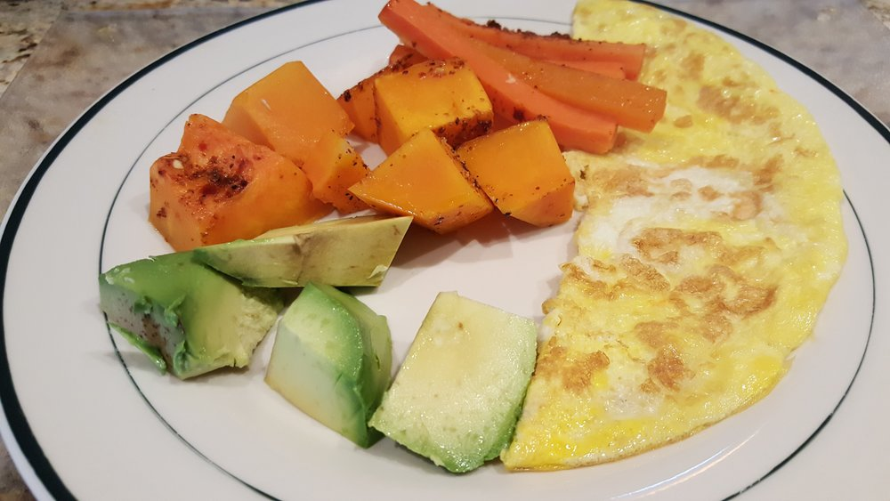 Roasted Butternut squash, Avocado, Omelette