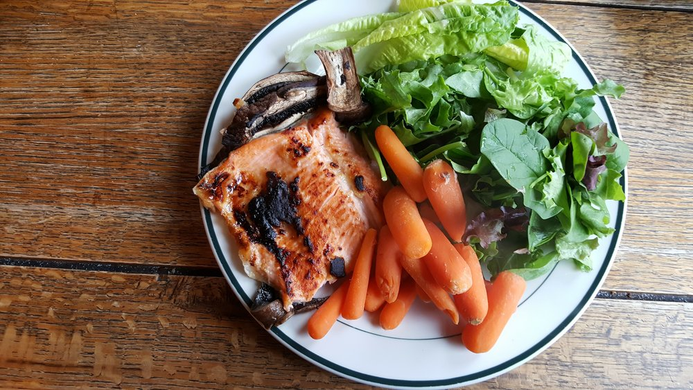 Miso glazed trout, carrots and greens