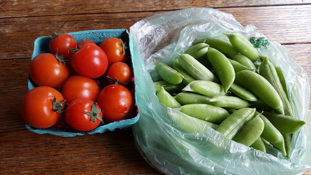 These tomatoes and snap peas make my heart sing!