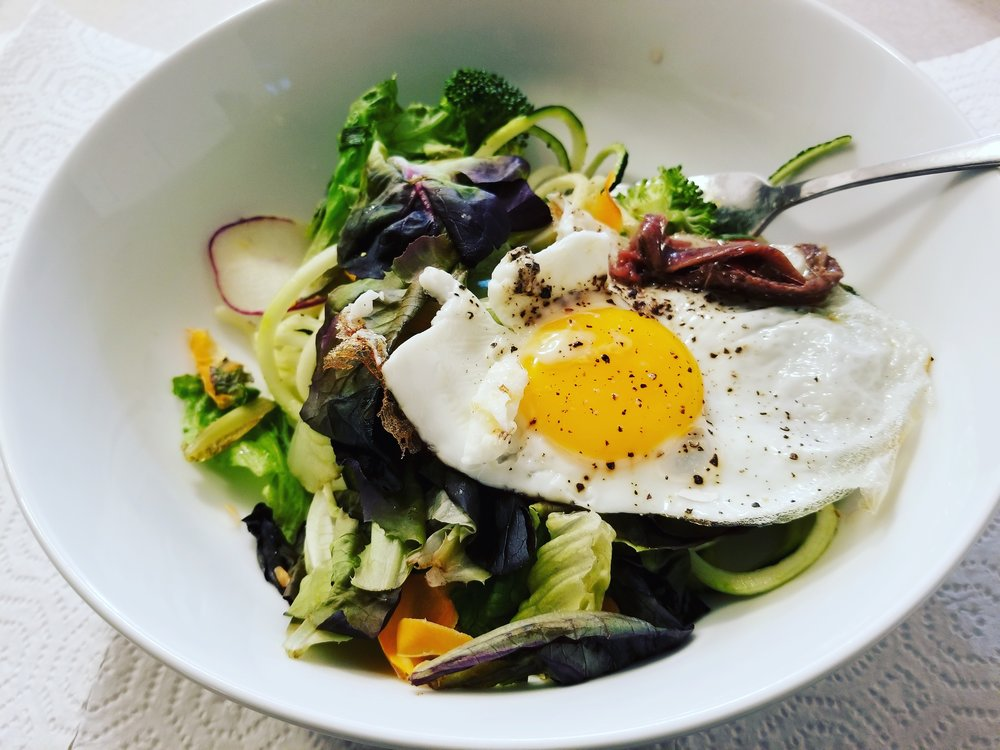 Eggs are filling and a great source of protein. I opt for cage free, vegetarian fed eggs, which I usually get at the Corvallis farmers market