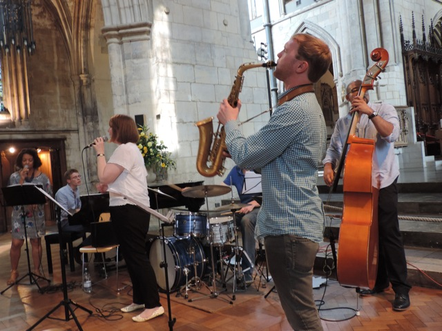 Doing jazz inside Southwark Cathedral, London