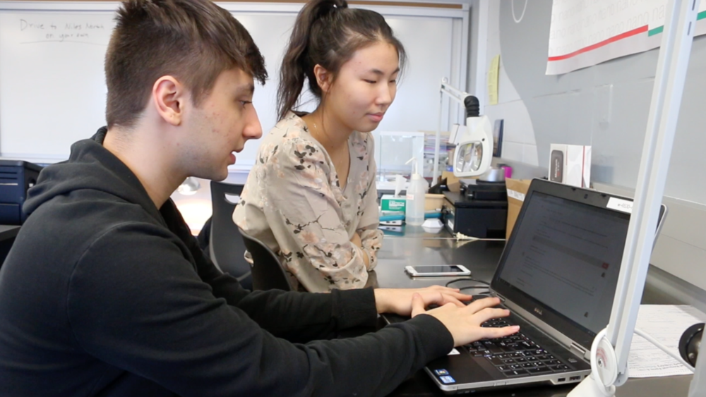 Jasmine Kee, right, works on a project in her College Introduction to Nanotechnology class. Kee signed up for District 214's Mentor Matching Engine and connected with an industry professional to get feedback on a class project.