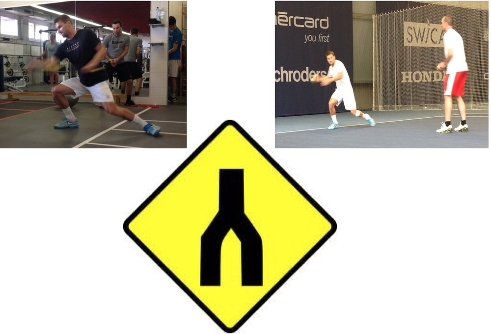 Gym and court based exercises, working on the specifics of open-stance forehand.