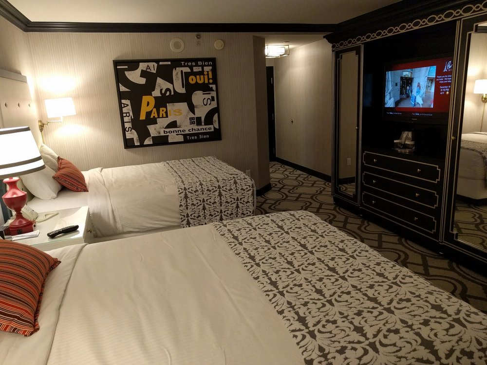 Newly renovated 2 Queens Eiffel Tower view room at Paris Las Vegas.